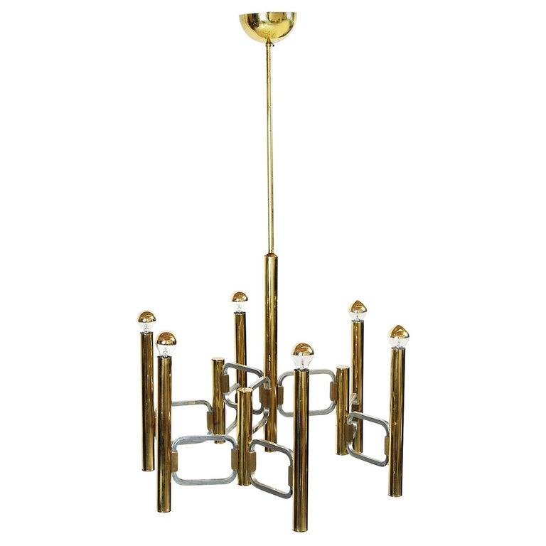 1970s Italian Modernist Brass and Chrome Ceiling Lamp by Gaetano Sciolari For Sale
