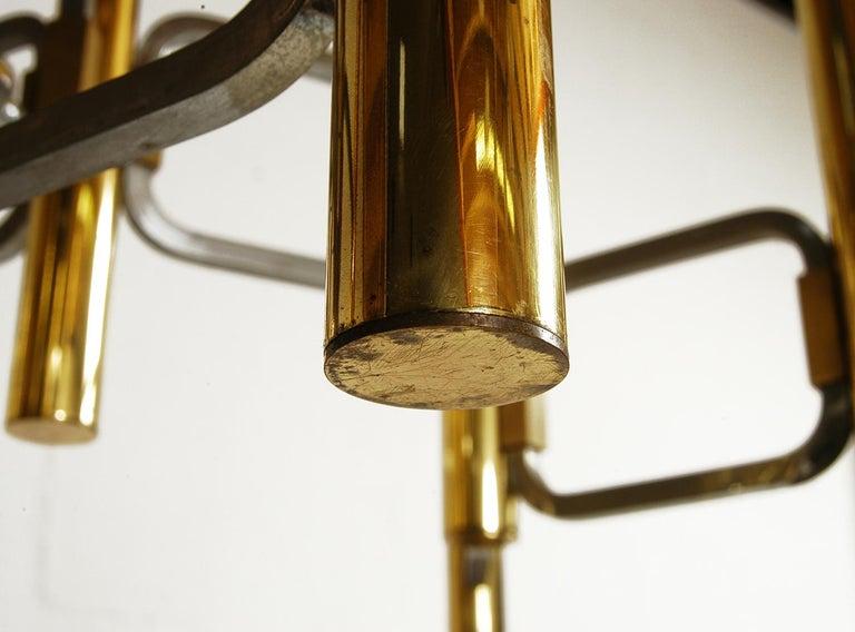 1970s Italian Modernist Brass and Chrome Ceiling Lamp by Gaetano Sciolari For Sale 4