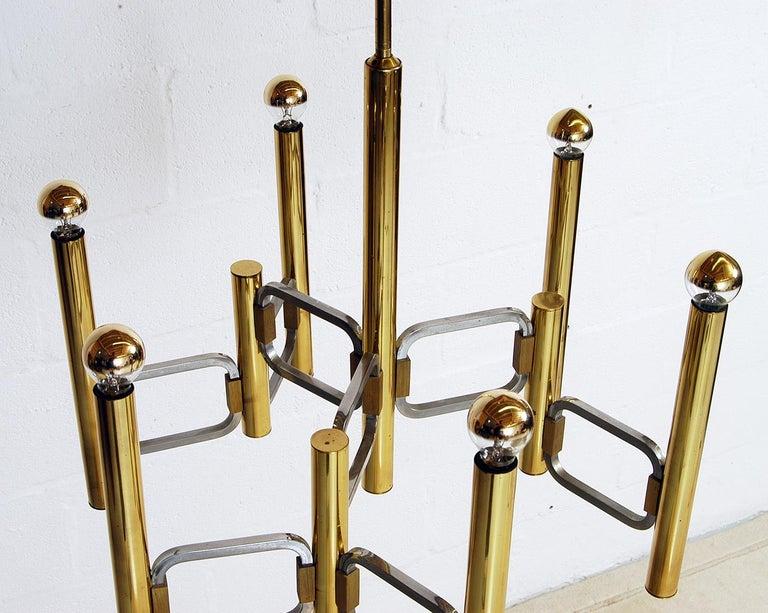 1970s Italian Modernist Brass and Chrome Ceiling Lamp by Gaetano Sciolari For Sale 5
