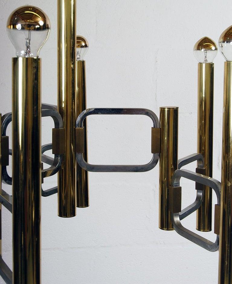1970s Italian Modernist Brass and Chrome Ceiling Lamp by Gaetano Sciolari For Sale 6