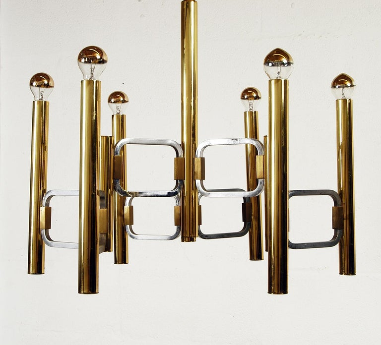 Mid-Century Modern 1970s Italian Modernist Brass and Chrome Ceiling Lamp by Gaetano Sciolari For Sale