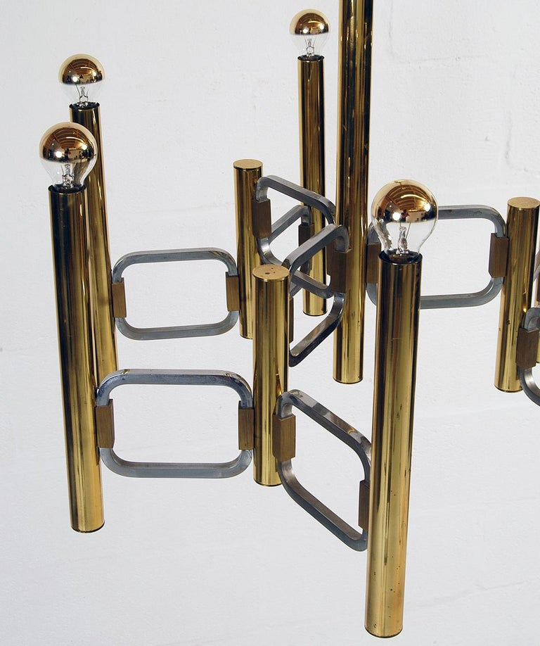1970s Italian Modernist Brass and Chrome Ceiling Lamp by Gaetano Sciolari In Good Condition For Sale In Sherborne, Dorset