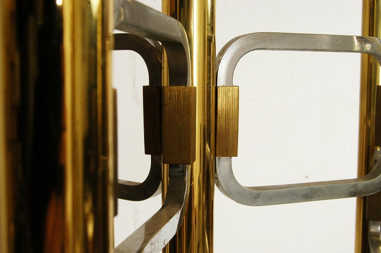 Late 20th Century 1970s Italian Modernist Brass and Chrome Ceiling Lamp by Gaetano Sciolari For Sale
