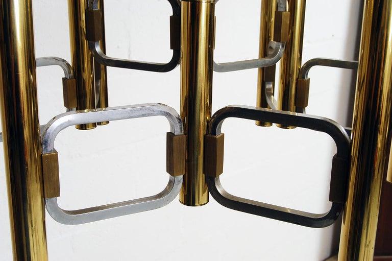 1970s Italian Modernist Brass and Chrome Ceiling Lamp by Gaetano Sciolari For Sale 1