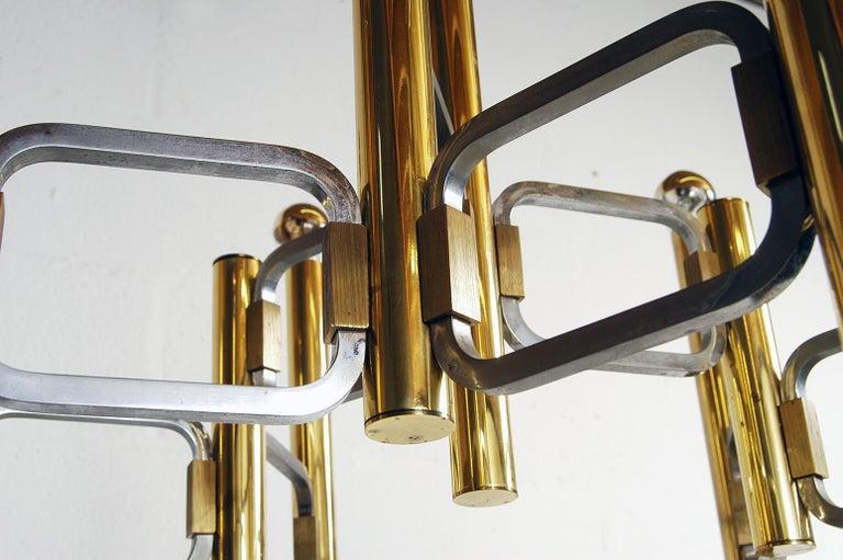 1970s Italian Modernist Brass and Chrome Ceiling Lamp by Gaetano Sciolari For Sale 2