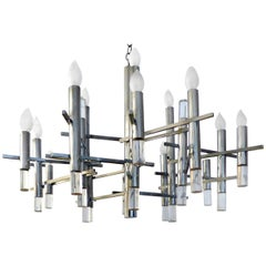 1970s Italian Modernist Chrome Chandelier by Gaetano Sciolari