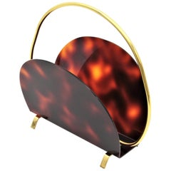 1970s Italian Modernist Faux Tortoise Shell Lucite and Brass Magazine Rack