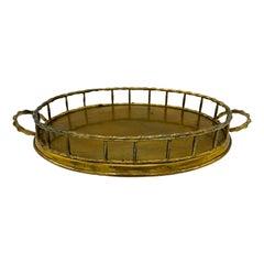1970s Italian Mottahedeh Brass Faux Bamboo Tray