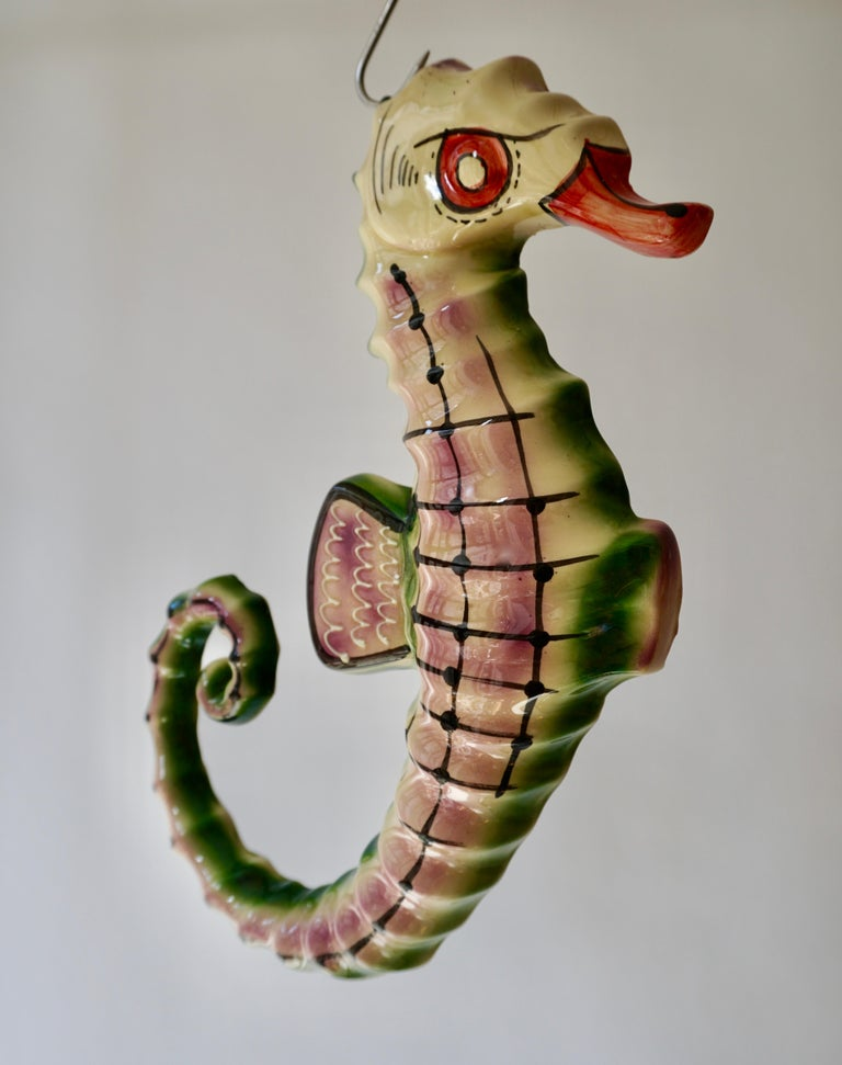 Mid-Century Modern 1970s Italian Multicolored Glazed Ceramic Sea Horse For Sale