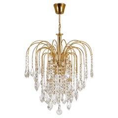 1970s Italian Murano Waterfall Gilt Brass Crystal Chandelier Pendant Hall Light