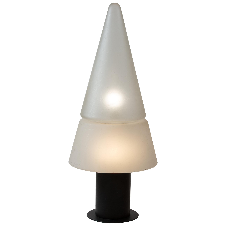 1970s Italian Murano White Glass Floor Lamp