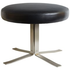 1970s Italian Norma Nova Stamped and Restored Black Leather Stool