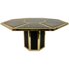 1970s Italian Octagonal Brass and Black Rattan Dining Table by Romeo Rega