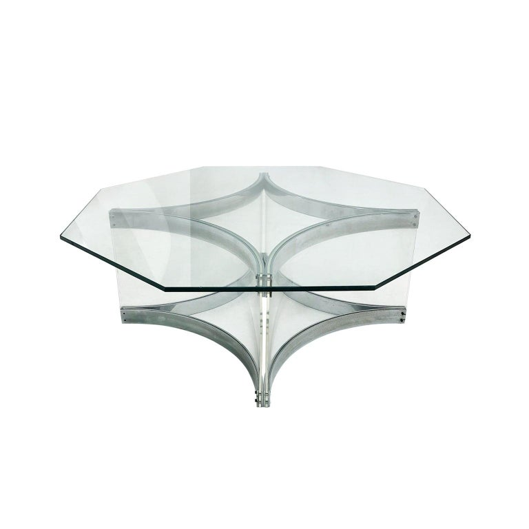 Lucite and chrome coffee table with octagonal glass top by Alessandro Albrizzi. Italy, 1970s.