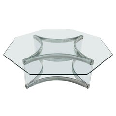1970s Italian Octagonal Chrome and Lucite Coffee Table by Alessandro Albrizzi
