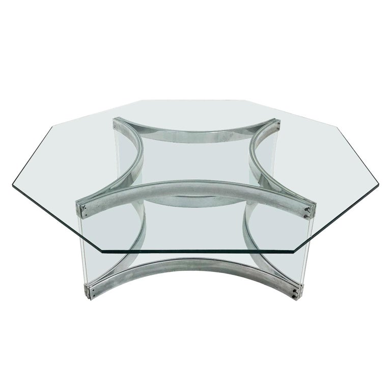 1970s Italian Octagonal Chrome and Lucite Coffee Table by Alessandro Albrizzi For Sale
