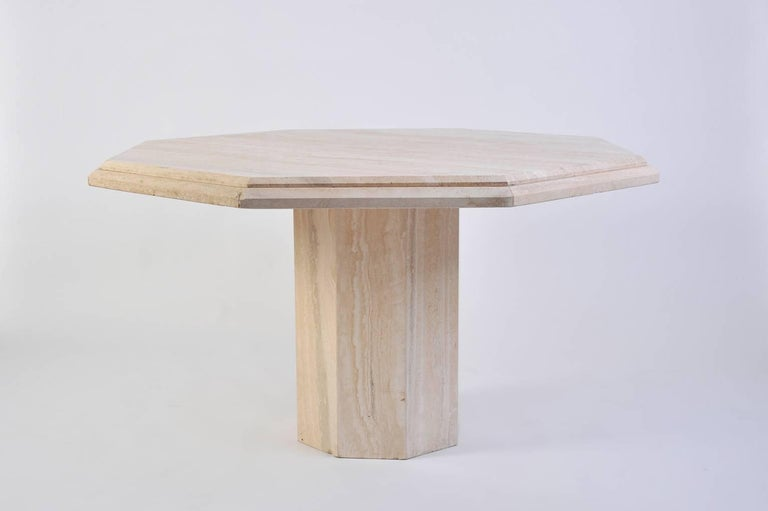 Mid-Century Modern 1970s Italian Octagonal Travertine Dining Table For Sale