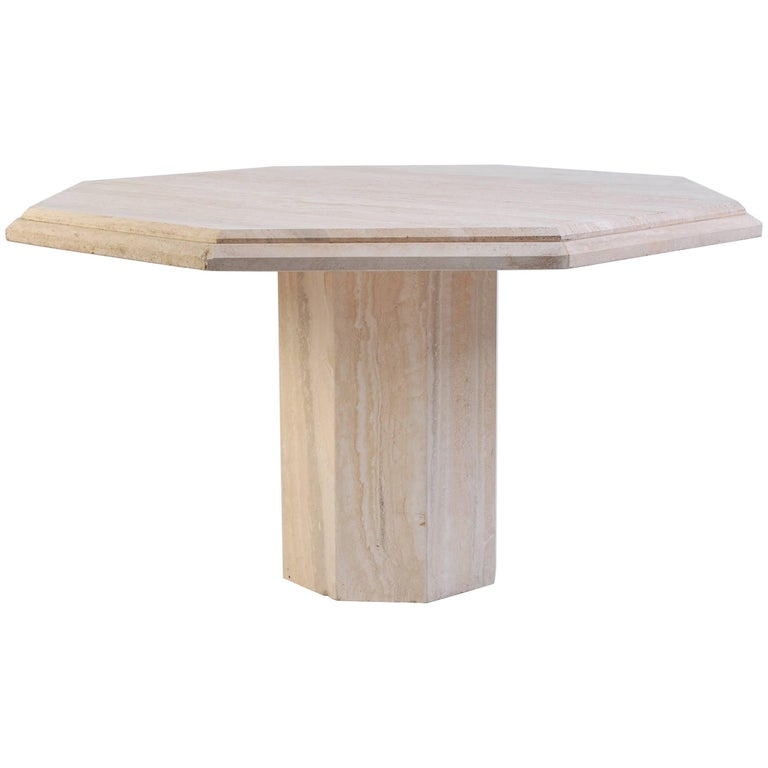1970s Italian Octagonal Travertine Dining Table For Sale
