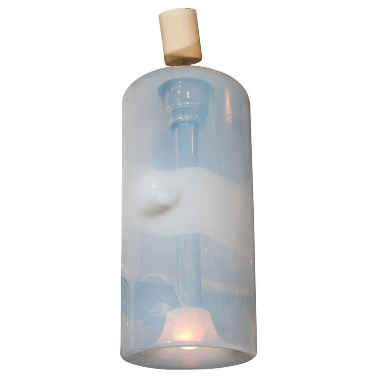 1970s Italian Opaline Glass Pendant Light by Sothis For Sale