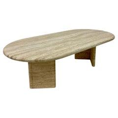 1970s Italian Oval Travertine Coffee Table