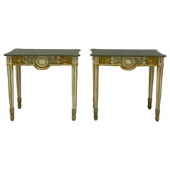 1970s Italian Painted Giltwood and Stone Console Tables, a Pair