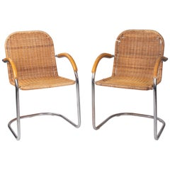 1970s Italian Pair of Aluminium and Wicker Armchairs