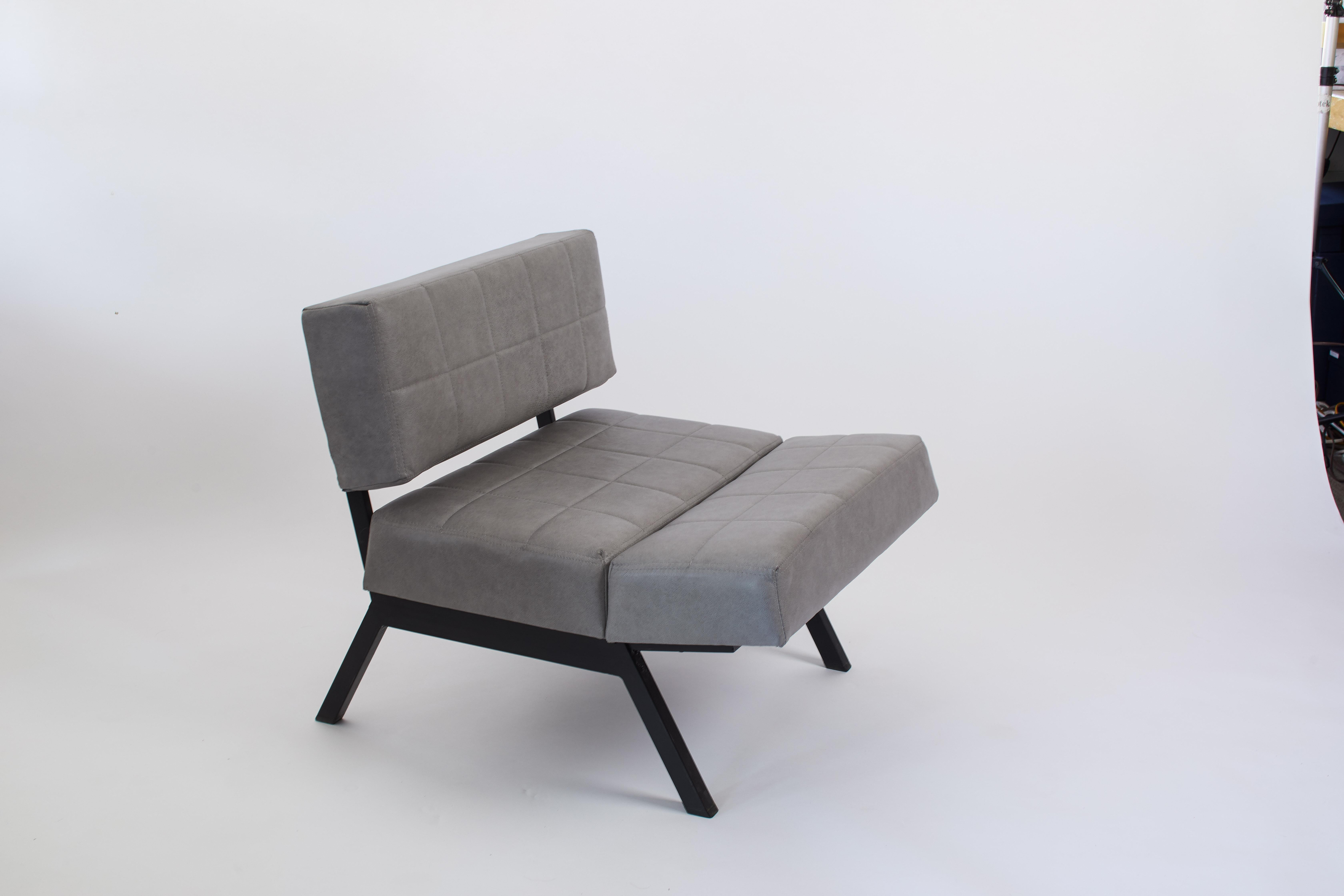 Ordinaire 1970s Italian Pair Of Chairs Convertible To Bench In Grey Leather