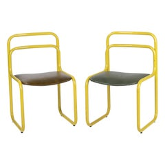 1970s Italian Pair of Vintage Steel Yellow Chairs