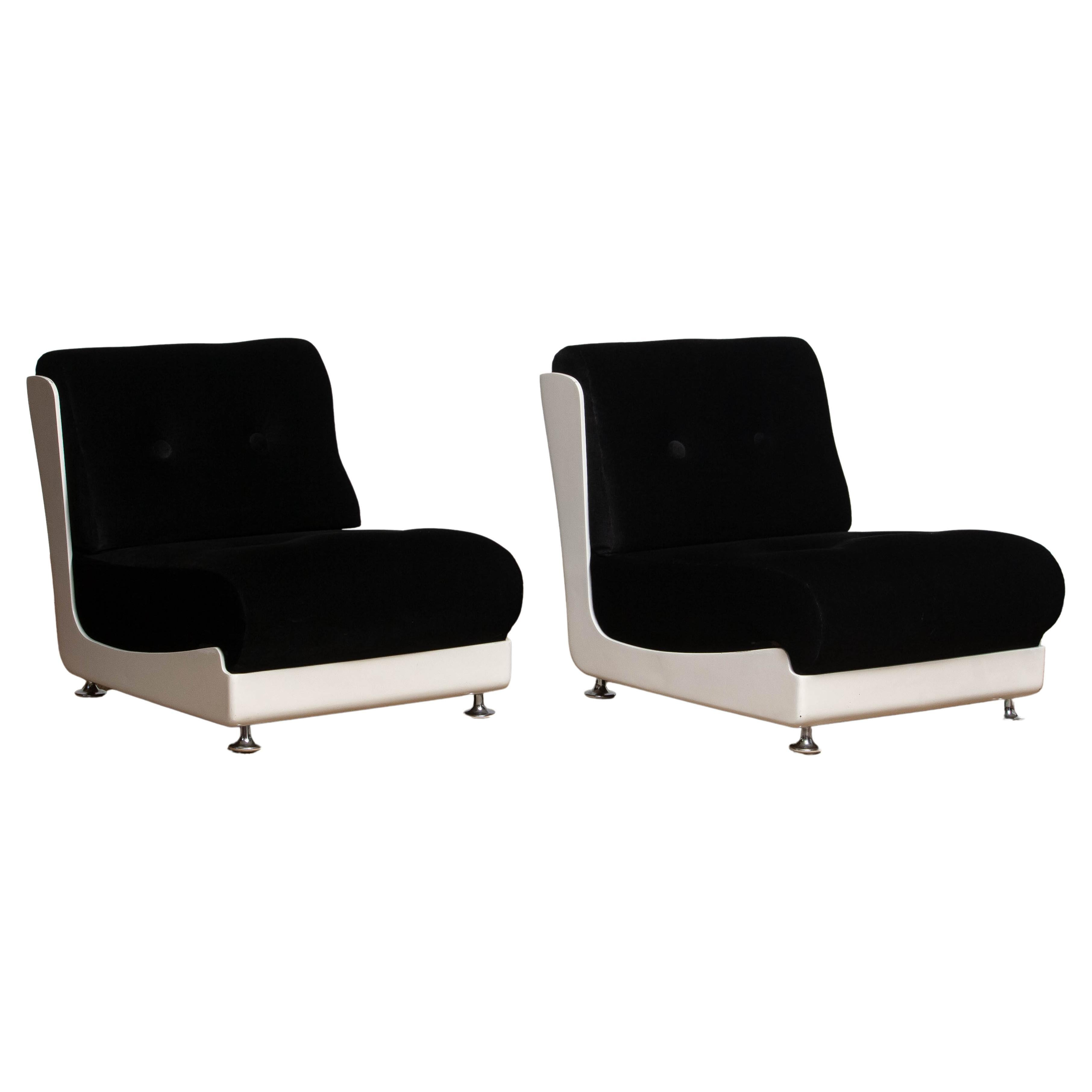 1970's Italian Pair Roche Bobois Lounge Easy Chairs Designed by Mario Bellini
