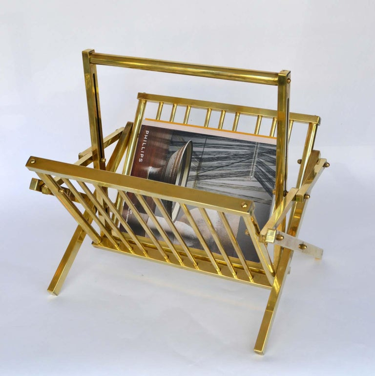 Late 20th Century 1970s Italian Polished Brass Magazine Rack For Sale