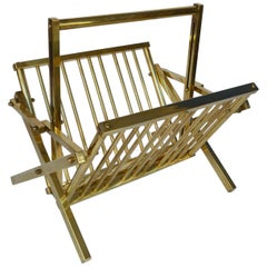 1970s Italian Polished Brass Magazine Rack