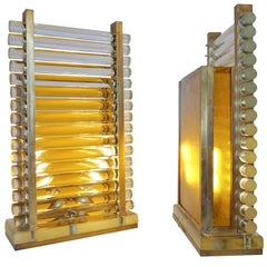 1970s Italian Postmodern Pair of Gold Brass and Crystal Glass Urban Design Lamps