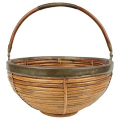 1970s Italian Rattan and Brass Large Basket