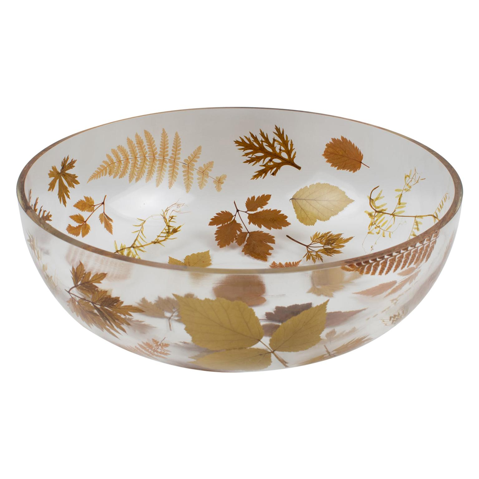 1970s Italian Resin Bowl Centerpiece with Leaves and Flowers Inclusions