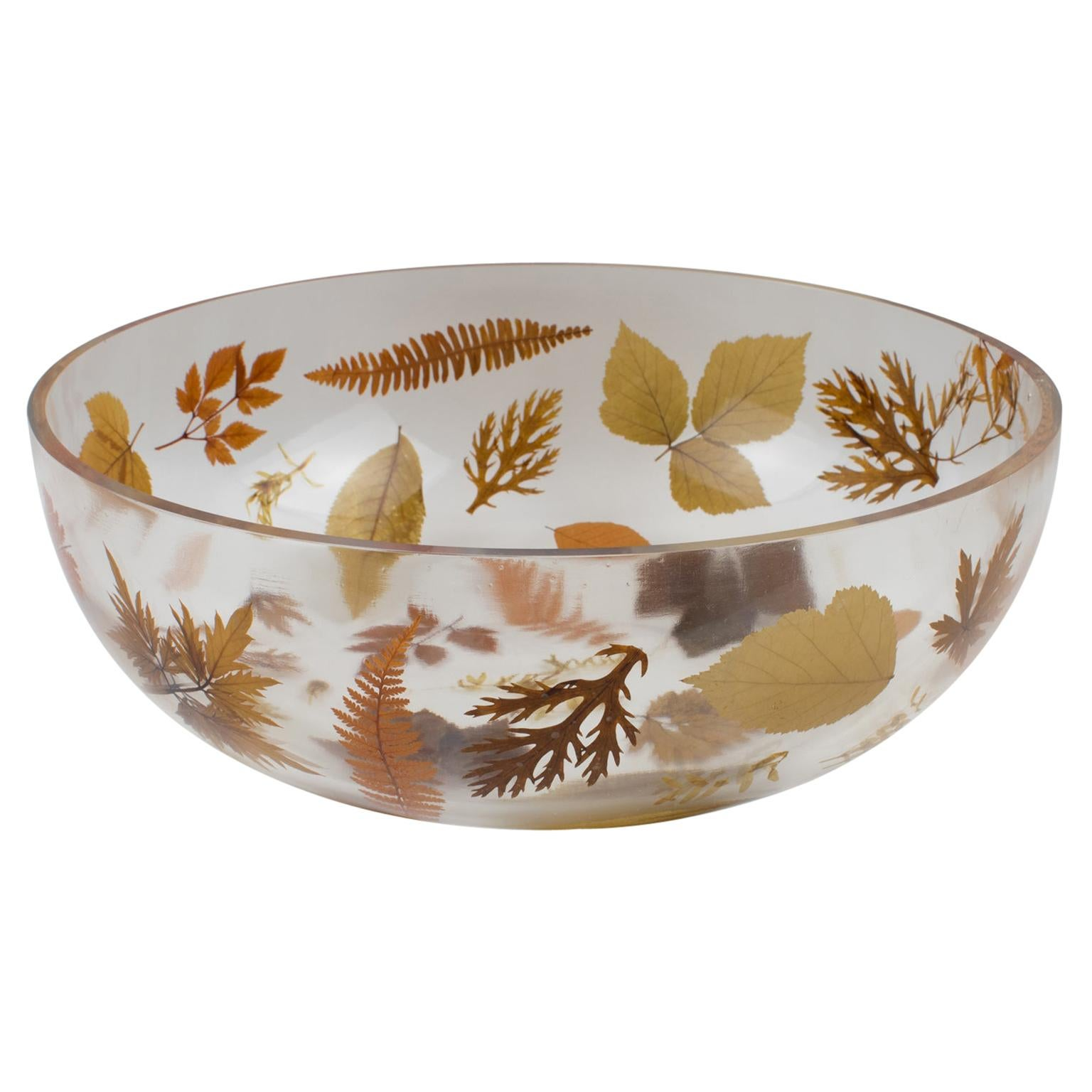 1970s Italian Resin Centerpiece Bowl with Leaves and Flowers Inclusions