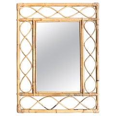1970s Italian Riviera Rectangular Bamboo Mirror