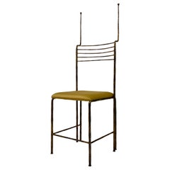 1970s Italian Sculpture Chair in Forged Iron by Salvino Marsura