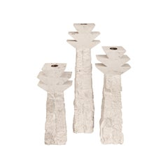 1970s Italian Set of Three Limestone Candleholders