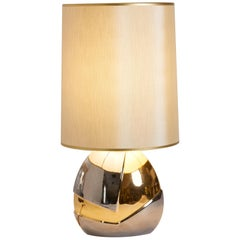 1970s Italian Silver and Gold Oval Pottery Lamp in Metallic Glaze