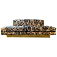 1970s Italian Sofa with Natural Brass Base, 1960s Jacquard Floral Velvet Fabric