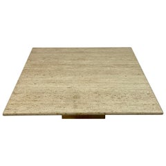 1970s Italian Square Travertine Coffee Table
