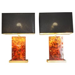 1970s Italian Table Lamps in Resin and Brass Base and Finishes