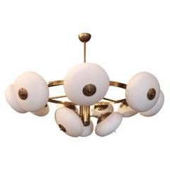 1970s Italian Tiered Round Brass Chandelier with Adjustable Glass