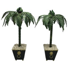 1970s Italian Tole Palm Tree Sculptures, Pair