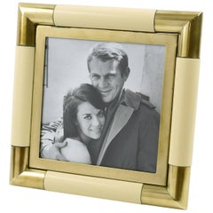 1970s Italian Tommaso Barbi Modernist Brass and Lacquer Picture Photo Frame