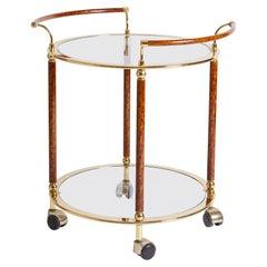 1970s Italian Tortoiseshell Enamel Bar Cart with Brass Detail and Glass Shelves