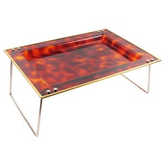 1970s Italian Tortoiseshell Lucite and Brass Barware Folding Serving Tray
