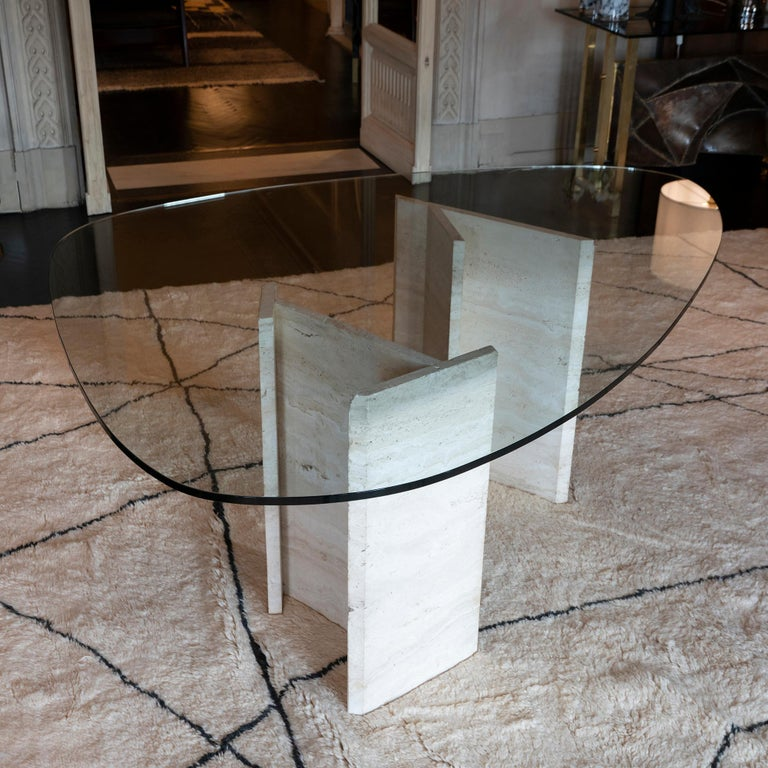 Modern 1970s Italian Travertine Center Table, Oval Shape Original Clear Glass Top For Sale