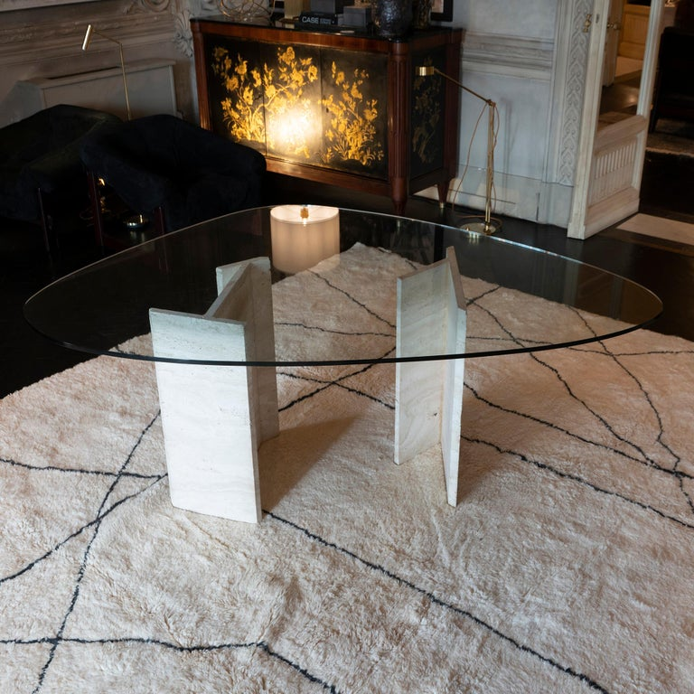 Late 20th Century 1970s Italian Travertine Center Table, Oval Shape Original Clear Glass Top For Sale