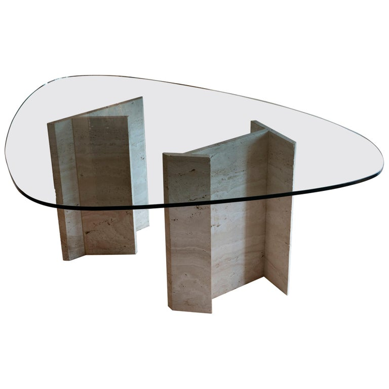 1970s Italian Travertine Center Table, Oval Shape Original Clear Glass Top For Sale